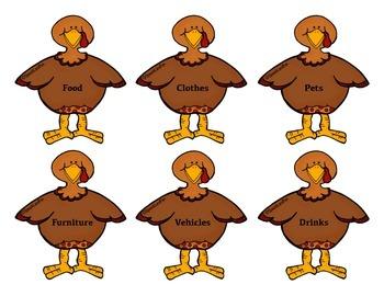 Quirky Turkey Categories Freebie
