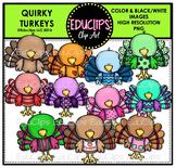 Quirky Turkeys Clip Art Bundle {Educlips Clipart}