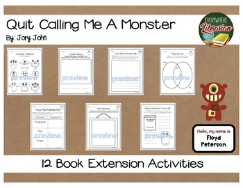 Quit Calling Me a Monster by Jory John 12 Book Extension Activities NO PREP