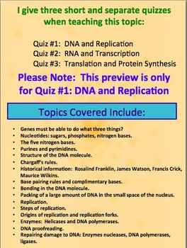 DNA (Deoxyribonucleic Acid) and Replication Quiz or Review