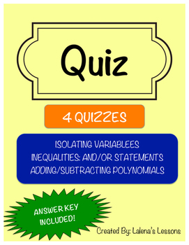 Quiz 2: Isolating Variables