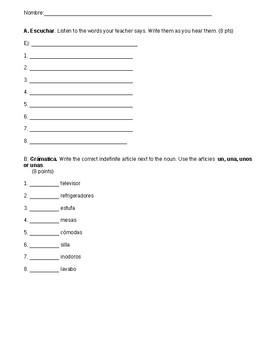 Quiz 2: La Casa, Indefinite Articles and Hay
