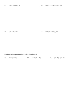 Quiz - 2 versions, solving equations, Abs. Values, inequalities
