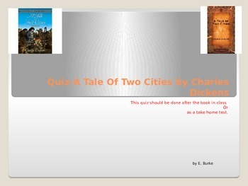 Quiz: A Tale Of Two Cities By Charles Dickens