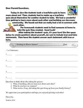 Quiz About Your Teacher - Getting to Know You Activity