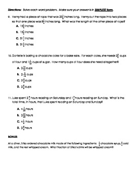 Quiz - Adding and Subtracting Fractions