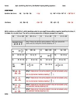 Quiz Algebra (26 questions) vocab and beginning algebra skills