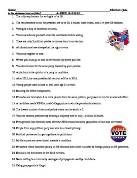Quiz Assessment Worksheet on Political Parties, Voting, Elections