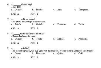 Quiz Bank--Question Words--Lv 1