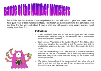 """Quiz! """"Battle of the Number Monsters"""" - Quick recall of multiplication facts"""