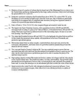 Quiz - COMMONALITIES AND VARIATIONS: 500 B.C.E.–1200 C.E.