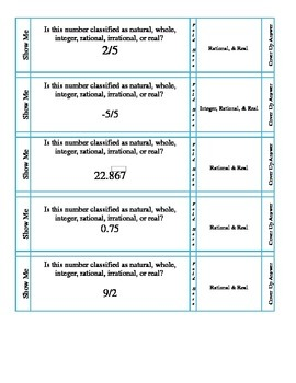 Quiz Cards--Real, Rational, Whole Numbers