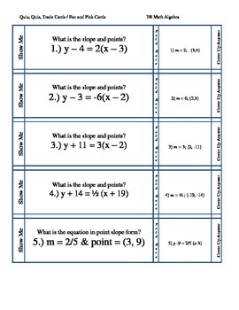 Quiz Cards-- Slope Intercept and Point Slope