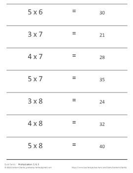 Quiz Cards for Quiz-Quiz-Trade Activities (multiplication in 3, 4, 5)
