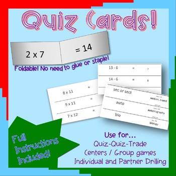 Quiz Cards for Quiz-Quiz-Trade Activities (Analogies, animals level 1)
