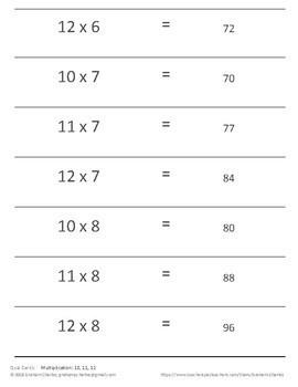 Quiz Cards for Quiz-Quiz-Trade Activities (multiplication in 10, 11, 12)