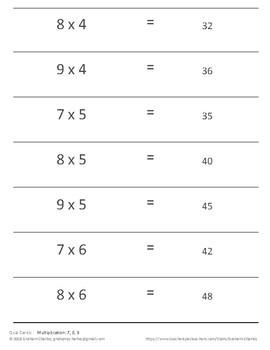 Quiz Cards for Quiz-Quiz-Trade Activities (multiplication in 7, 8, 9)