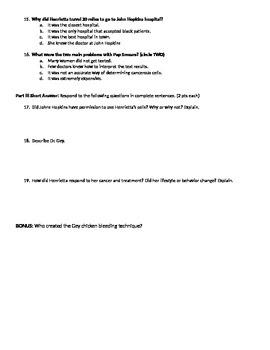 Quiz Ch. 1-4 on The Immortal Life of Henrietta Lacks