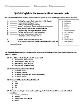 Quiz Ch. 1-4 on The Immortal Life of Henrietta Lacks