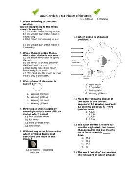 Quiz Check #17-(6.4)-Phases of the Moon
