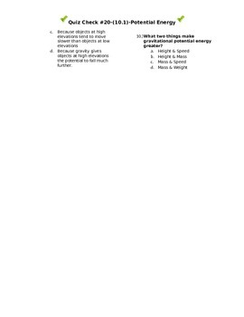 Quiz Check #20-(10.1)-Potential Energy
