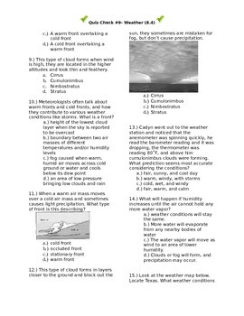 Quiz Check #9- Weather (8.4)