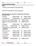 Quiz Chemical or Physical Changes Worksheet