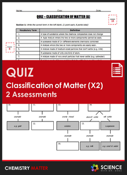 Classification Of Matter Worksheet | Teachers Pay Teachers