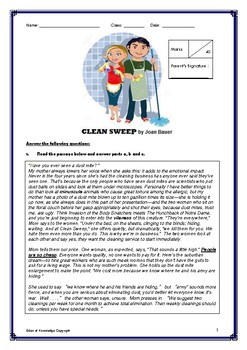 Literature Quiz - Clean Sweep by Joan Bauer