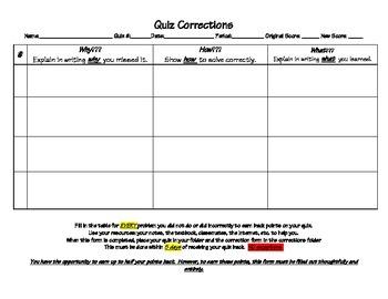 Quiz Correction Form