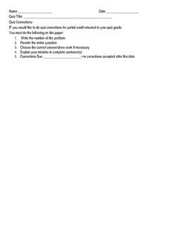 Quiz Corrections Sheet