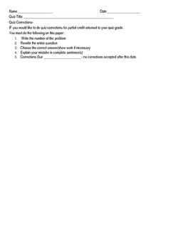 Quiz Corrections Sheet