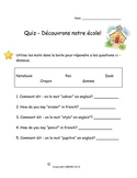 French Quiz - Decouvrons notre ecole