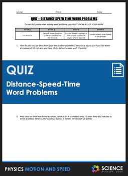 Quiz - Distance Speed Time Word Problems