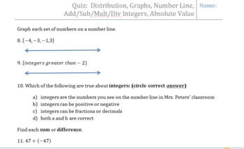 Quiz: Distribution,Graphs,Number Line, Add/Sub/Mult/Div Integers, Absolute Value