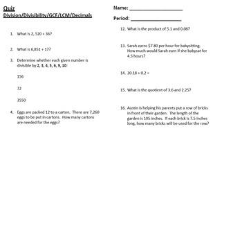 Quiz - Division-Divisibility-GCF-LCM-Decimals