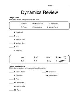 Quiz: Dynamics Terms and Symbols