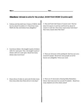 Quiz Estimate and Multiply