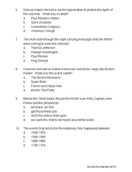 Quiz ~ Events Leading Up to the Revolutionary War