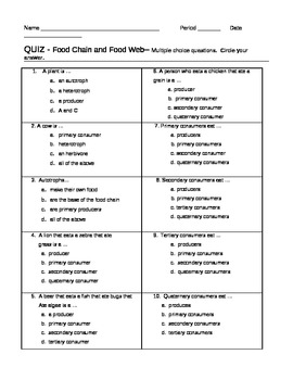 Quiz Food Chain Food Web As... by jjms | Teachers Pay Teachers
