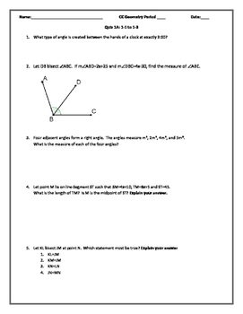 Quiz: Foundations of Geometry Editable Word Document