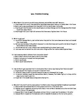 Quiz for Freedom Crossing  by Margaret Goff Clark