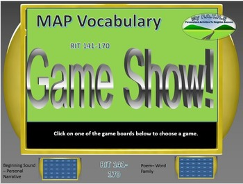 MAP TEST READING VOCABULARY GAME - Jeopardy (RIT BANDS 141-170)