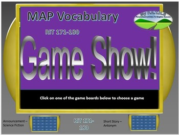 MAP TEST READING VOCABULARY GAME - JEOPARDY (RIT BANDS 171-180)