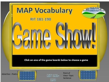 MAP TEST READING VOCABULARY GAME - Jeopardy (RIT BANDS 181-190)