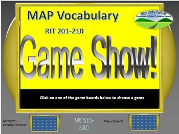 MAP TEST READING VOCABULARY GAME - Jeopardy (RIT BANDS 201-210)