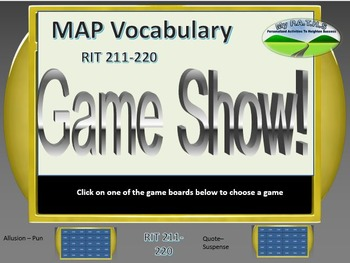MAP TEST READING VOCABULARY GAME - Jeopardy (RIT BANDS 211-220)