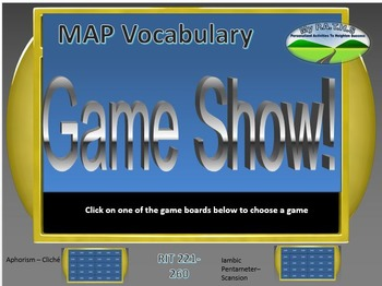 MAP TEST READING VOCABULARY GAME - Game Show (RIT BANDS 221-260)