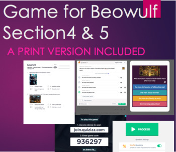 """Quiz & Game for Beowulf Section 3 """"Grendel's Mother"""" & 4 """"Battle w/ Grendel's M"""""""
