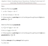 Quiz: Graphing Linear Equations, Finding X-int & Y-int, Pa